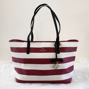 Kate Spade Red and White Striped Tote Purse